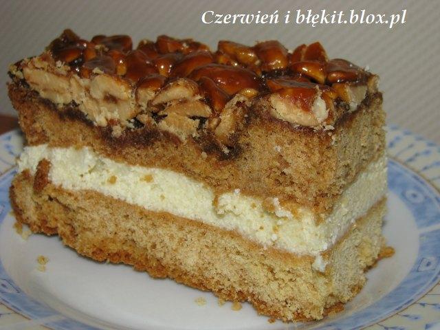 Ciasto miodowo-orzechowe z kremem z kaszy manny
