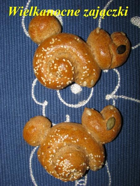 Wielkanocne bułeczki-zajączki z mąki żytniej i orkiszowej